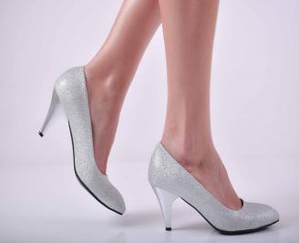 Дамски  елегантни обувки текстил сребристи