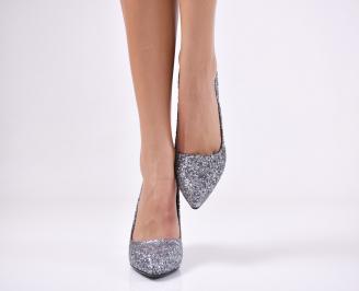 Дамски  елегантни обувки брокат сребристи