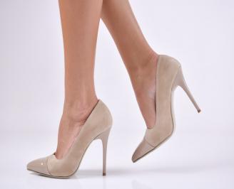 Дамски елегантни обувки еко велур бежови