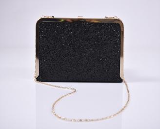 Абитуриентска чанта брокат черна