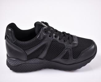 Мъжки спортни  обувки естествена кожа/текстил черни