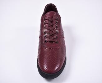 Мъжки спортно елегантни обувки естествена кожа бордо