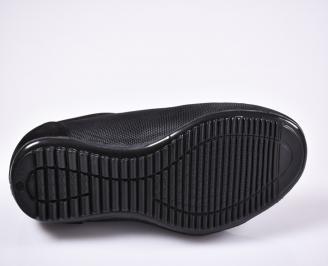 Мъжки спортно елегантни обувки естествен велур/текстил черни