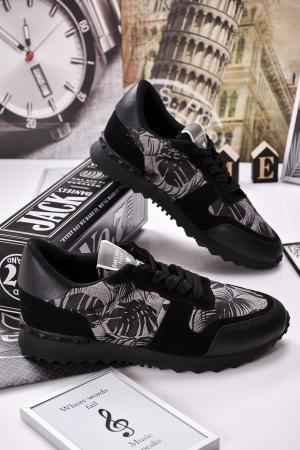 Мъжки спортни обувки естествена кожа/ велур черни