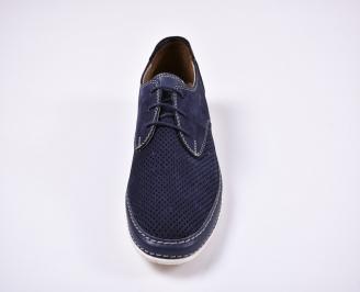 Мъжки спортно елегантни обувки естествен набук сини