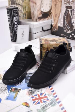 Мъжки спортни обувки естествен велур черни