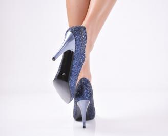 Дамски  елегантни обувки текстил/брокат сини