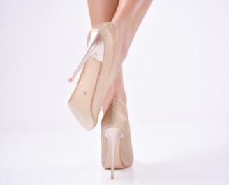 Дамски  елегантни обувки текстил/брокат златисти