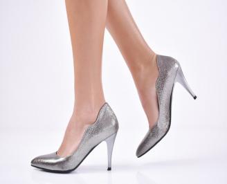 Дамски елегантни обувки  еко кожа сиви