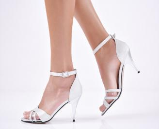 Дамски  елегантни сандали брокат сребристи