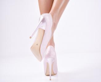 Дамски елегантни обувки  брокат розови