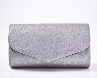 Абитуриентска чанта брокат/текстил  сребриста