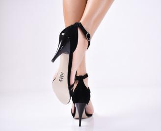 Дамски елегантни сандали  велур черни