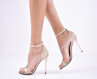 Дамски елегантни сандали текстил/брокат златисти