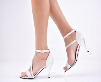 Дамски елегантни сандали текстил/брокат сребристи