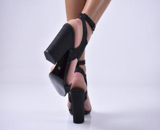 Дамски елегантни сандали текстил/брокат черни