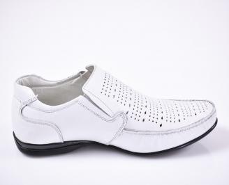 Мъжки  елегантни обувки естествена кожа бели