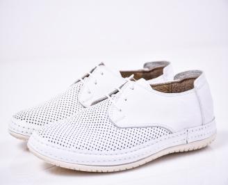 Мъжки спортно елегантни обувки естествена кожа бели
