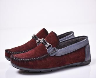 Мъжки спортно елегантни обувки естествен набук бордо