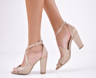 Дамски елегантни сандали  златисти