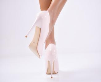 Дамски елегантни обувки еко кожа пудра