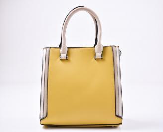 Дамска чанта еко кожа жълта
