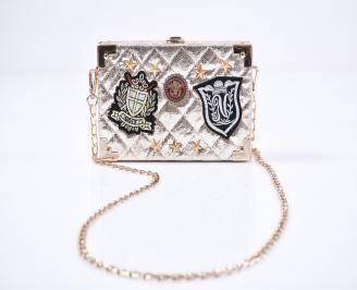 Дамска чанта  сребриста 3