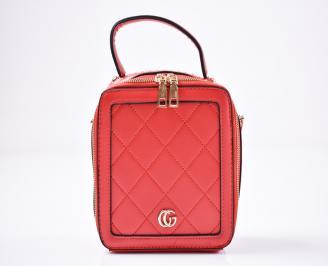 Дамска чанта еко кожа червена