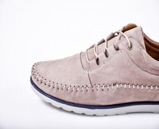 Мъжки спортно елегантни обувки естествен набук бежови