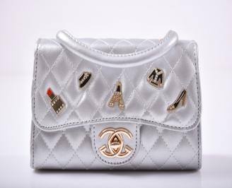 Дамска чанта  сребриста