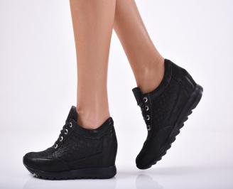 Дамски обувки  на платформа естествена кожа черни