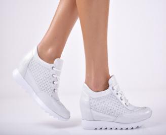 Дамски обувки  на платформа естествена кожа сребристи