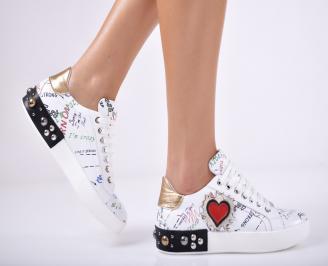 Дамски спортни обувки  естествена кожа бели