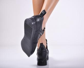 Дамски обувки от естествена кожа черни