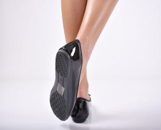Дамски обувки равни еко лак черни 3