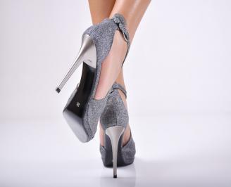 Дамски елегантни сандали  сиви 3