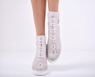 Дамски  обувки естествена кожа  пудра