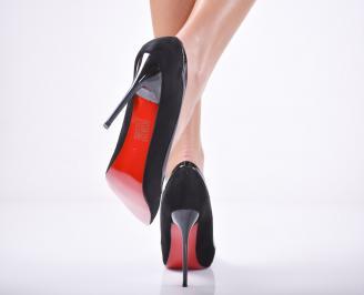 Дамски елегантни обувки еко велур черни