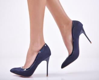 Дамски елегантни обувки еко велур сини