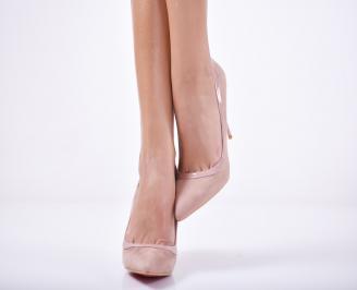 Дамски елегантни обувки еко велур розови