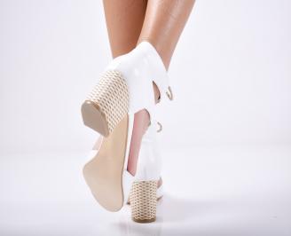 Дамски елегантни сандали естествена  кожа бели 3