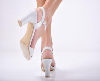 Дамски елегантни сандали текстил/брокат сребрист
