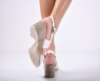 Дамски елегантни сандали естествена  кожа бежови