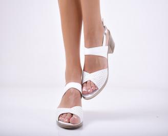 Дамски елегантни сандали естествена  кожа бели