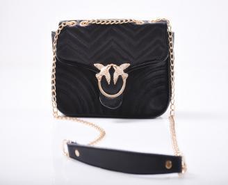 Дамска чанта еко кожа/текстил черна