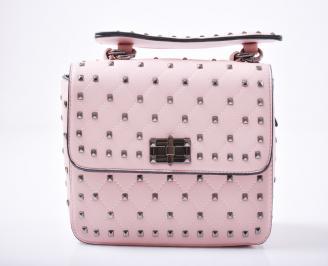 Дамска чанта еко кожа розова