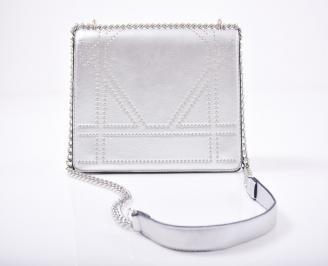 Дамска чанта еко кожа сребриста 3