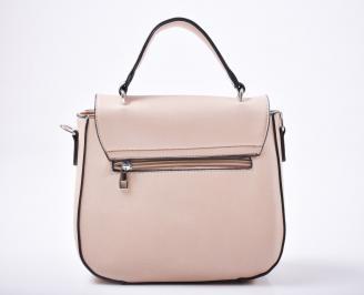 Дамска чанта еко кожа бежово/бяло
