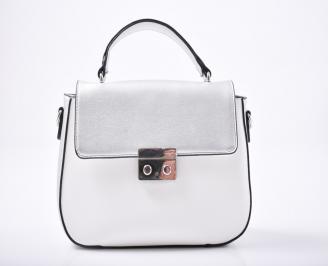 Дамска чанта еко кожа сребристо/бяло