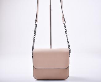 Дамска чанта еко кожа пудра 3